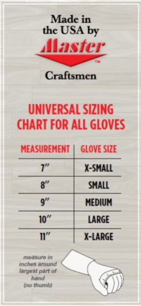 Master wrist support and glove size guide